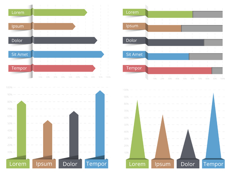 vertical bar: Four bar graphs, horizontal and vertical bar graphs with text, business infographics templates