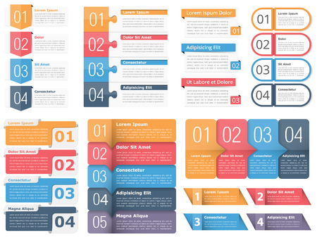Zestaw szablonów infografik z liczbami i tekstem, zestaw elementów infografiki biznesowej, przepływ pracy, proces, kroki lub opcje Ilustracje wektorowe