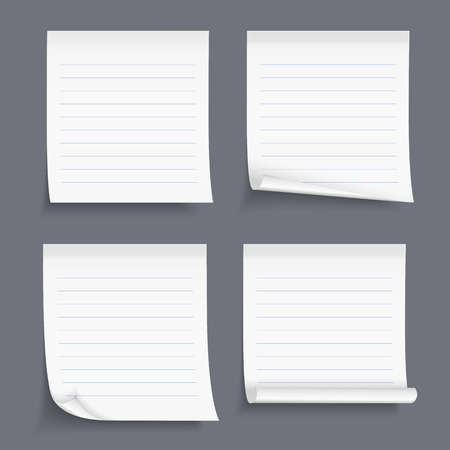 Lined sticky notes set, blank lined paper, lined paper with curl