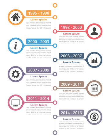 vertical timeline infographics template with place for icons