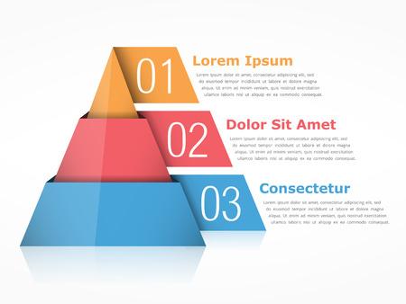 Piramida wykres z trzech segmentów Ilustracje wektorowe
