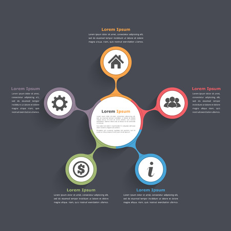 five elements: Circle diagram infographics with five elements with icons and text, circle flow chart template, business infographics, flat diagram template