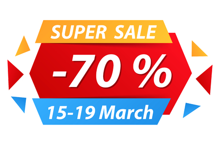 discount banner: Super sale banner with 70% discount Illustration