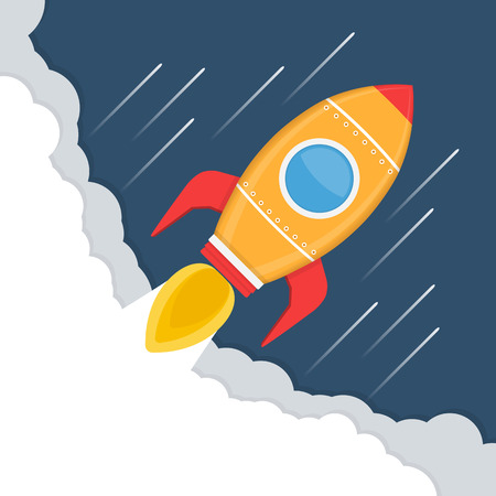 aerodynamics: Yellow rocket in space, rocket launch, start-up concept Illustration