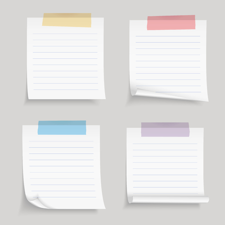 ruled: Paper with tape, blank lined paper notes with colored adhesive tape