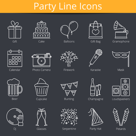 serpentines: 20 party line icons Illustration