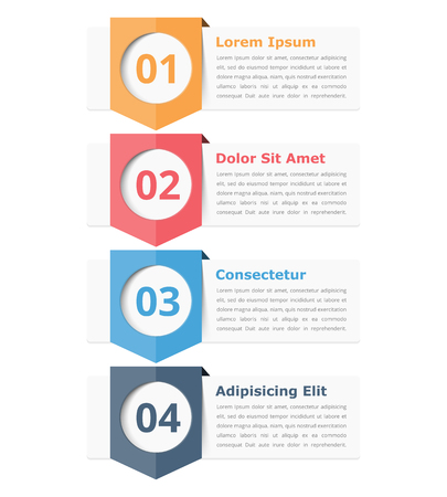 four: Infographics design elements with place for numbers (steps or options) and text