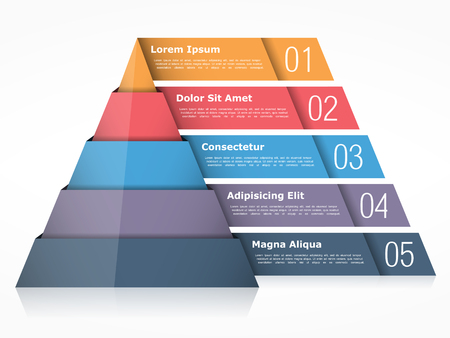 Pyramid chart with four elements, pyramid infographics template