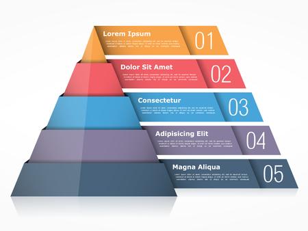 Wykres piramidy z czterema elementami, szablon infografiki piramidy Ilustracje wektorowe
