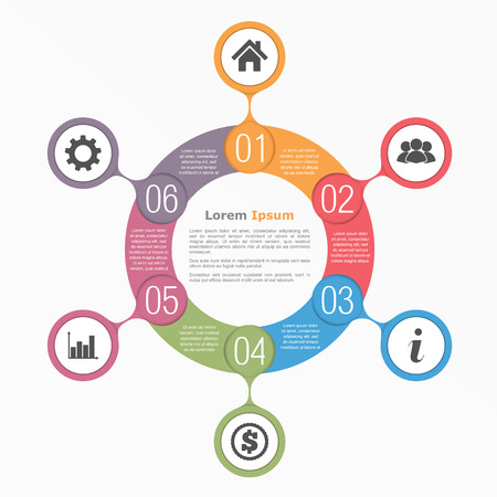 six web website: Circle diagram with six elements with icons and text, flow chart template, business infographics