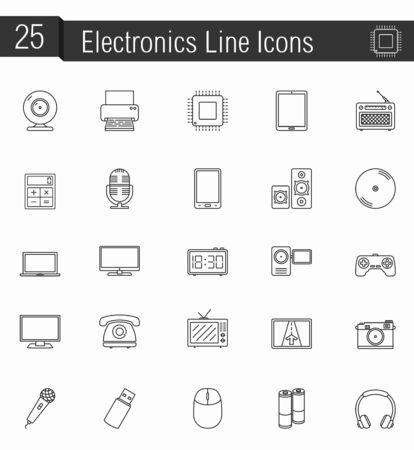 electronic music: 25 Electronics line icons