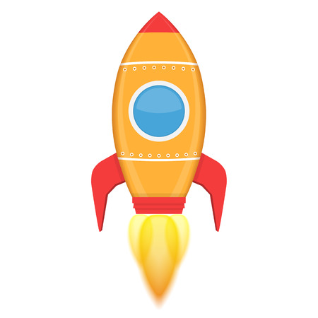 rocketship: Yellow rocket with flame