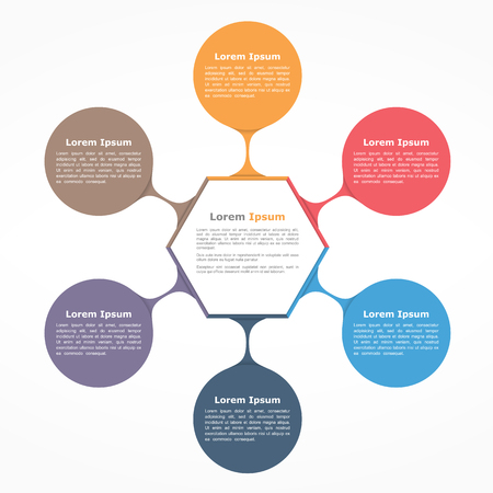 six web website: Circle diagram with six elements with and text, flow chart template, business infographics