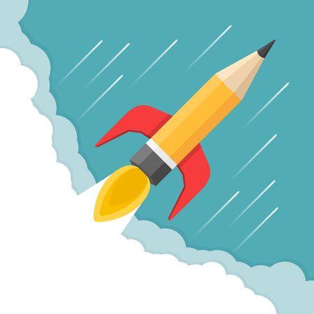 launch: Pencil - rocket launch, business start-up, creativity concept