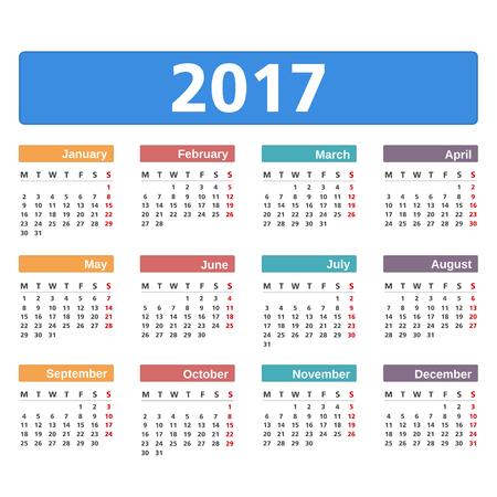 calendario diciembre: 2017 Calendario en el fondo blanco