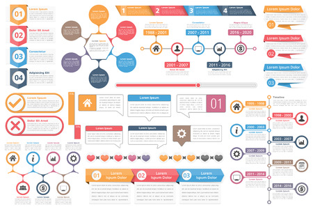 Infographic elements - objects with numbers text, timeline infographics, check and cross symbols, circle diagram, speech bubbles, process charts
