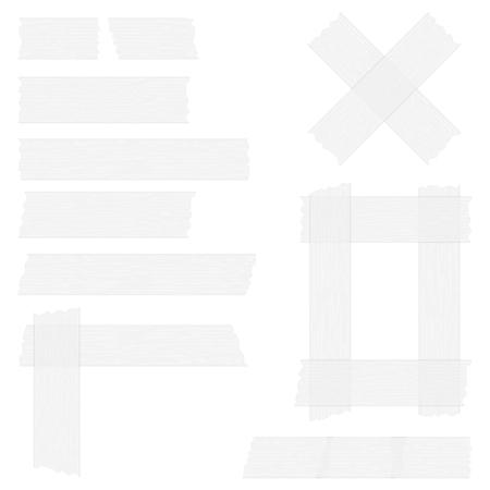 Stukken van grijze transparante plakband op een witte achtergrond, plakband