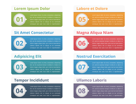 titles: Eight infographic elements with place for numbers titles and text