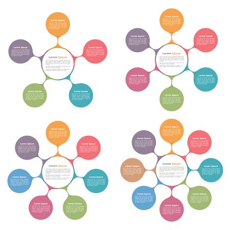 diagrammen cirkel met vijf, zes, zeven en acht elementen, stroomschema, business infographics Stock Illustratie
