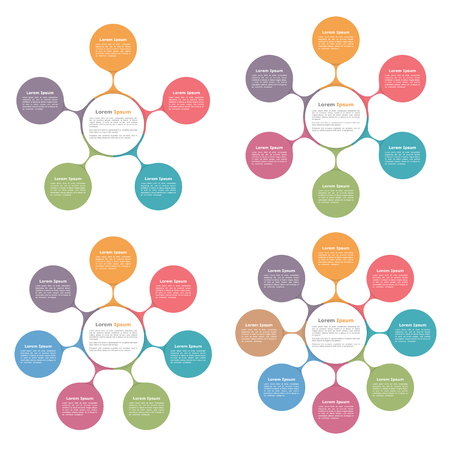 Circle diagrams with five, six, seven and eight elements, flow chart, business infographics