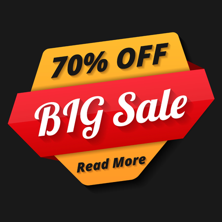 sale tag: Big sale banner, 70% off, sale tag