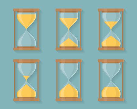 Transparent sandglass icons set, time hourglass, sandclock, flat design Illustration