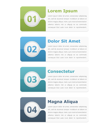 text boxes: Four infographic elements with place for numbers titles and text