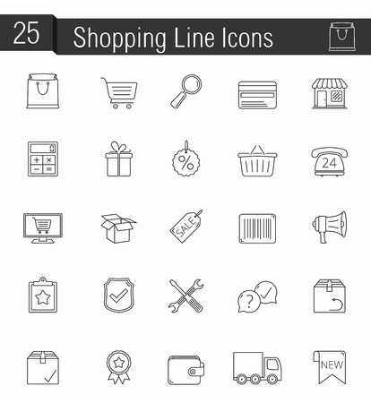 icon phone: 25 shopping or e-commerce line icons