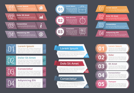 番号とテキスト、プロセス フロー チャート デザイン要素、ビジネス infographics インフォ グラフィック テンプレートのセット  イラスト・ベクター素材