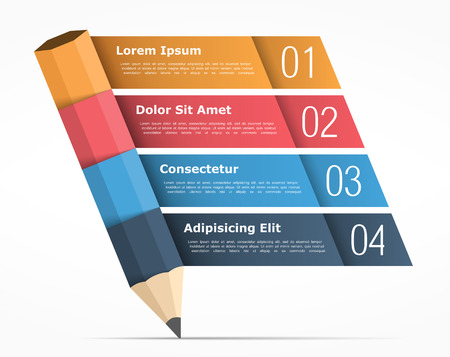 cuatro elementos: Infographic template with pencil and four elements for text, education infographics Vectores
