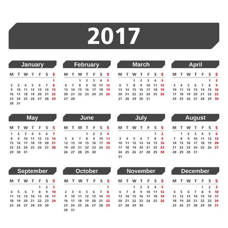 白い背景の上 2017年カレンダー  イラスト・ベクター素材