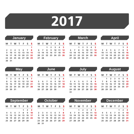 2017 Calendar on white background 矢量图像