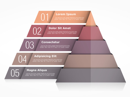 five objects: Pyramid chart with five elements, pyramid infographics template Illustration
