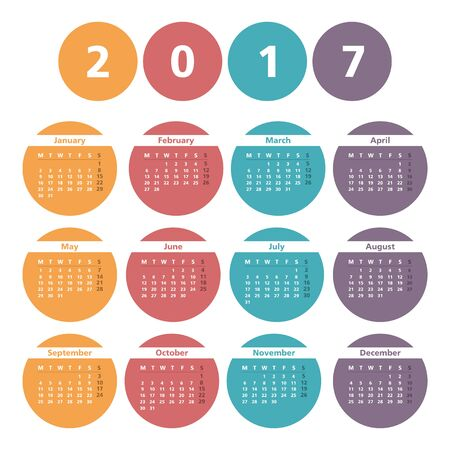 event planner: 2017 Calendar in colored circles
