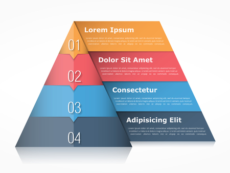 levels: Pyramid chart with four elements with numbers and text, pyramid infographic template