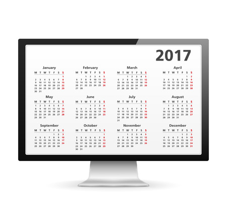 calender: Computer with 2017 calendar Illustration