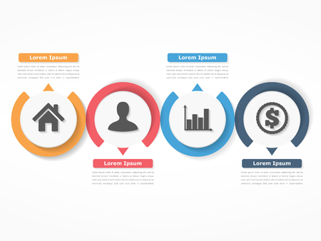 Process chart template with circles, flowchart or workflow with four elements, steps or options, business infographics