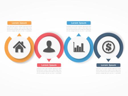 Proces grafiek sjabloon met cirkels, flowchart of workflow met vier elementen, stappen of opties, zakelijke infographics