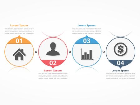 cuatro elementos: plantilla de diagrama de proceso con círculos, diagrama de flujo o flujo de trabajo con cuatro elementos, etapas u opciones de negocio, infografía Vectores