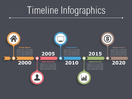 bar graph: Timeline infographics design with arrows, workflow or process diagram, flowchart