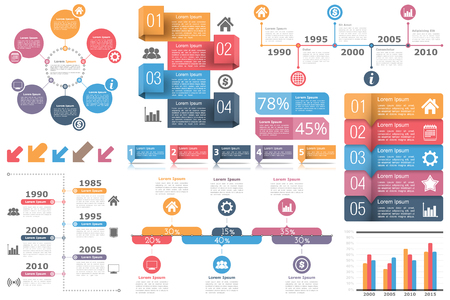 Set of infographic elements - circle diagram, timelines, arrows, diagram with percents, bar graph, objects with numbers (steps or options) and text
