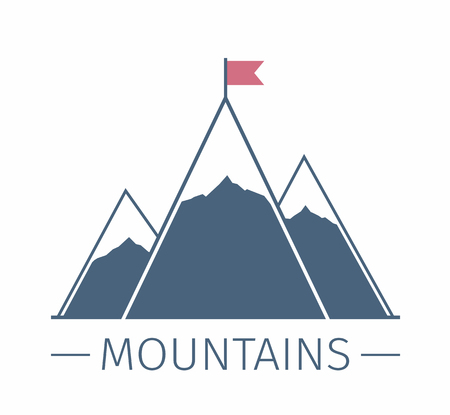 mission: Mountains with flag emblem, success or mission concept Illustration