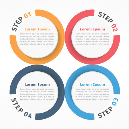 four elements: Circle diagram with four elements, steps or options, flowchart or workflow diagram template Illustration