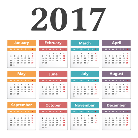 2017 カレンダー、白い背景
