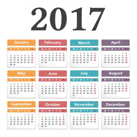 calendrier: 2017 Calendrier, fond blanc