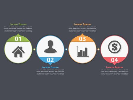 cuatro elementos: plantilla de la del proceso con los círculos, diagrama de flujo o flujo de trabajo con cuatro elementos, etapas u opciones de negocio, infografía