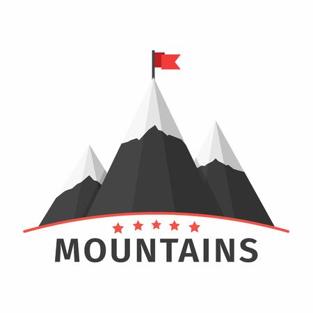 montagna: Montagne con la bandiera emblema, il successo o il concetto di missione Vettoriali