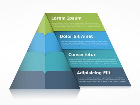 Piramide grafiek met vier elementen met cijfers en tekst, piramide infographic template Stock Illustratie