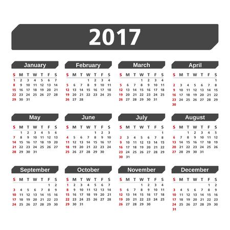 monthly planner: 2017 Calendar on white background Illustration