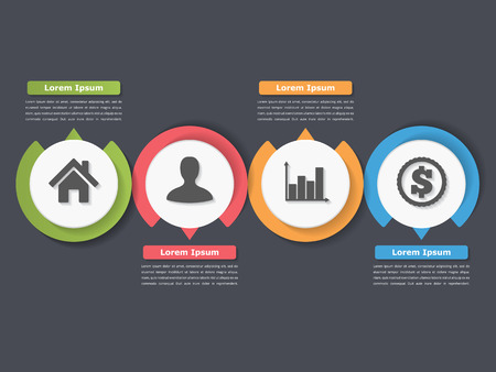 plantilla de la del proceso con los círculos, diagrama de flujo o flujo de trabajo con cuatro elementos, etapas u opciones de negocio, infografía
